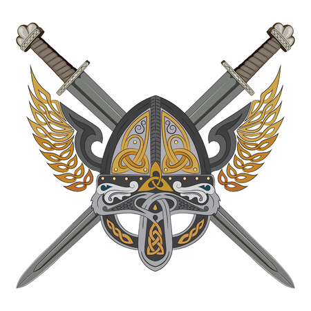 Viking winged helmet with two crossed swords and Scandinavian pattern vector illustration