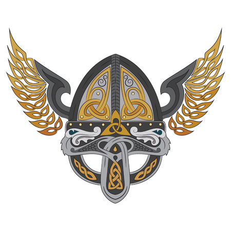 Viking winged helmet with Scandinavian pattern, vector illustration Vettoriali