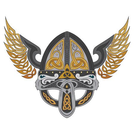 Viking winged helmet with Scandinavian pattern, vector illustration 矢量图像