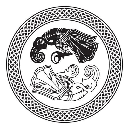 Two Ravens Of The God Odin In Scandinavian Style. Huginn and Muninn, isolated on white, vector illustration