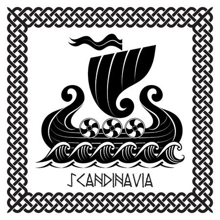 Viking Drakkar. Drakkar Schiff auf dem stürmischen Meer, Vektor-Illustration, isoliert auf weißem Standard-Bild - 81370934