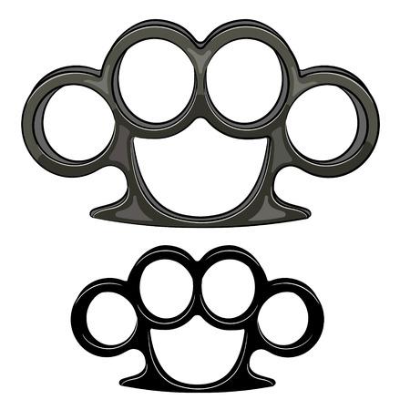 knuckles: Brass knuckles set. Isolated on white, vector illustration Illustration