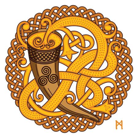 Celtic, diseño escandinavo. Beber cuerno con hidromiel y patrón tejido, aislado en blanco, ilustración vectorial