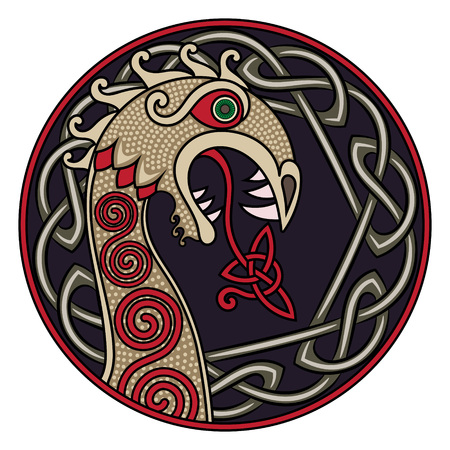 스칸디나비아 디자인. 드래곤의 형태로 바이킹 우주선 Drakkar의 비강 그림 및 스칸디 나비아 트위스트 패턴, 흰색, 벡터 일러스트 레이 션에서 절연
