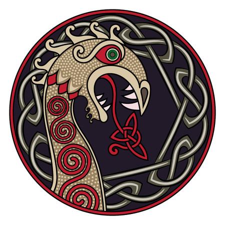 Scandinavisch design. Het nasale cijfer van het vikingenschip Drakkar in de vorm van een draak, en het Scandinavische gedraaide patroon, geïsoleerd op wit, vectorillustratie Stock Illustratie
