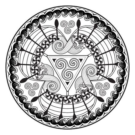 Viking Drakkar. Viking Drakkar. Design of the three Scandinavian ships Drakkar, vector illustration, isolated on white  イラスト・ベクター素材