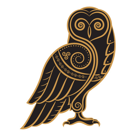Owl hand-drawn in Celtic style, isolated on white, vector illustration