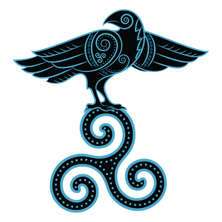 Raven hand-drawn in Celtic style, isolated on white, vector illustration
