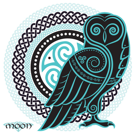 Owl hand-drawn in Celtic style, on the background of the Celtic moon ornament, isolated on white, vector illustration