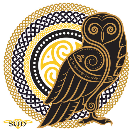 Owl hand-drawn in Celtic style, on the background of the Celtic sun ornament, isolated on white, vector illustration Vettoriali