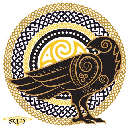 Raaf hand-drawn in Keltische stijl, op de achtergrond van het Keltische die zonornament, op witte, vectorillustratie wordt geïsoleerd