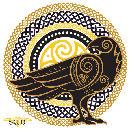 Raven hand-drawn in Celtic style, on the background of the Celtic sun ornament, isolated on white, vector illustration Ilustracja