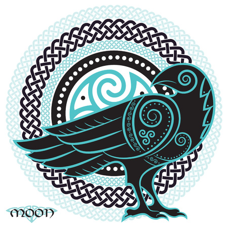Raven hand-drawn in Celtic style, on the background of the Celtic moon ornament, isolated on white, vector illustration Ilustração