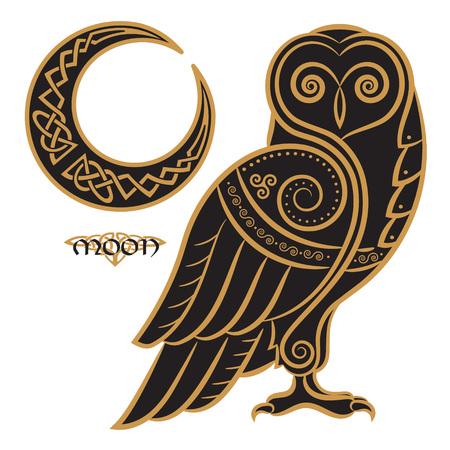 Uil hand-drawn in Keltische stijl, op de achtergrond van het Keltische die maanornament, op witte, vectorillustratie wordt geïsoleerd Stock Illustratie