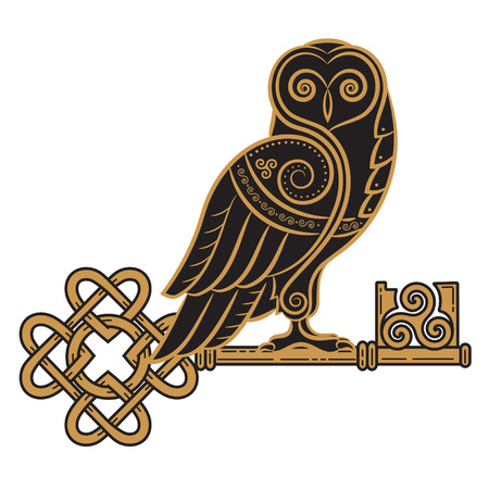 The Celtic design. Owl and key in the Celtic style, a symbol of wisdom, isolated on white, vector illustration