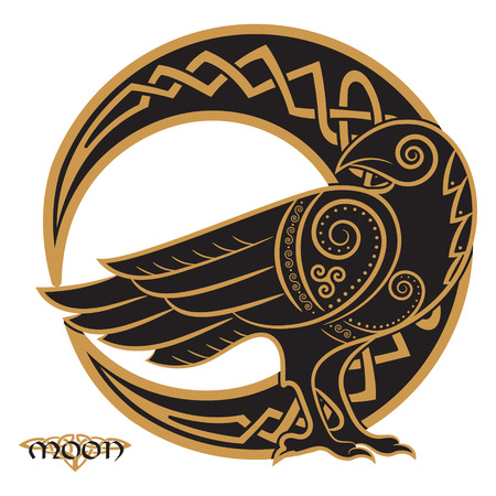 Raven hand-drawn in Celtic style, on the background of the Celtic moon ornament, isolated on white, vector illustration Ilustracja