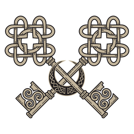 Design of the Keys in the Celtic style. Sign of wisdom, isolated on white, vector illustration