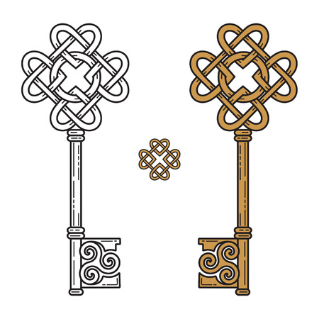 Key in the Celtic style. Sign of wisdom, isolated on white, vector illustration Vettoriali