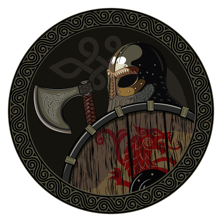 Warrior Barbarian Viking Berserker with axe and shield, isolated on white, wector illustration