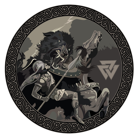 Battle of the God Odin with the wolf Fenrir. Illustration of Norse mythology, isolated on white, vector illustration Illustration