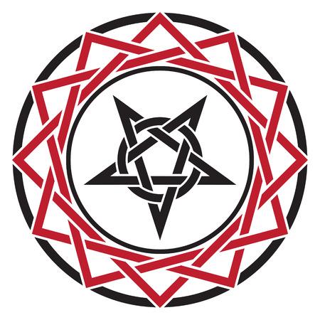neopaganism: Black magic sign, isolated on whie, vector illustration Illustration