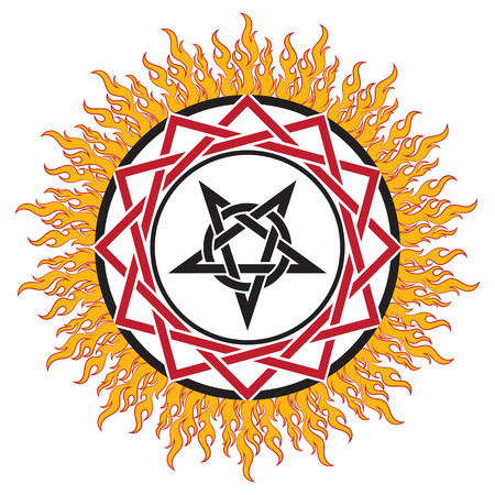 neopaganism: Black magic sign, pentagram and fire, isolated on whie, vector illustration Illustration
