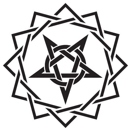 pentacle: Black magic sign, isolated on whie, vector illustration Illustration