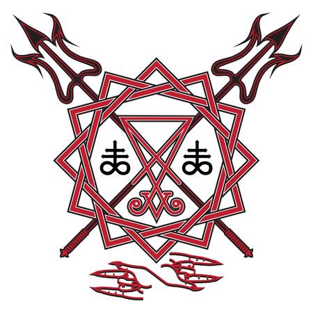 루시퍼의 서명, 오각형 및 교차 악마 갈 퀴, whie, 벡터 일러스트 레이 션에서 절연
