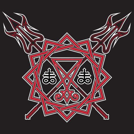 Teken van Lucifer, de pentagram en gekruiste duivelshooivork, die op zwarte, vectorillustratie wordt geïsoleerd Stockfoto - 82812633