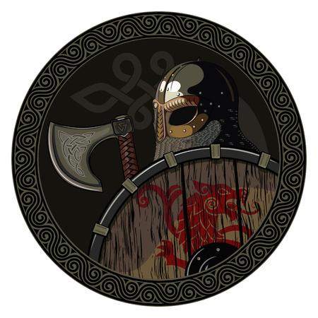 Strijder Barbaarse Viking Berserker met bijl en schild, op witte, vectorillustratie wordt geïsoleerd die