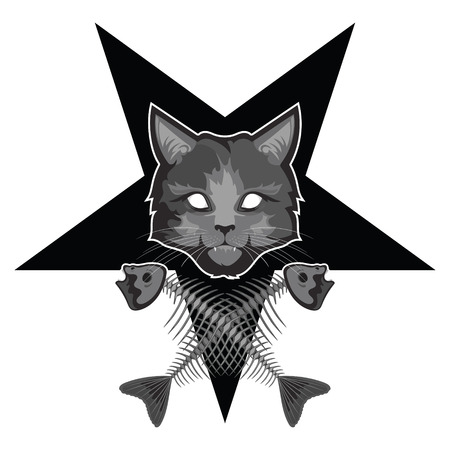 superstitious: The Lucipurr - evil cat, pentagram and crossed fish bones, isolated on white, vector illustration