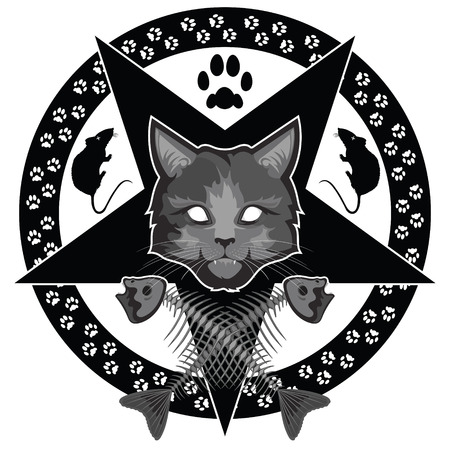The Lucipurr - evil cat, pentagram and crossed fish bones, isolated on white, vector illustration