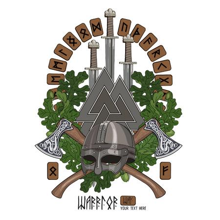 Scandinavisch ontwerp. Een krans van eikenbladeren, een Viking-helm, gekruiste bijlen, zwaarden en Scandinavische runen, geïsoleerd op wit, vectorillustratie Stock Illustratie