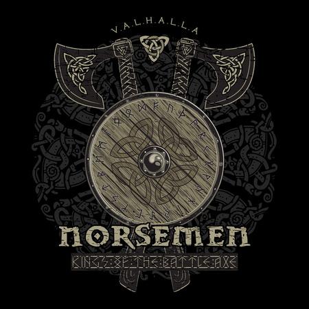 Viking-ontwerp, gekruiste de strijdassen van Viking en schild van een Viking met de Norse runen, vectorillustratie Stock Illustratie