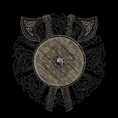 Viking diseño, cruzado vikingo hachas de batalla y el escudo de un Viking con el escandinavo runas, ilustración vectorial Ilustración de vector
