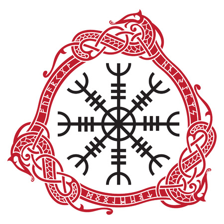 Icelandic magical staves with scandinavian runes and dragons.