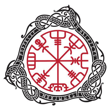 バイキング デザイン魔法ルーン文字コンパス  イラスト・ベクター素材