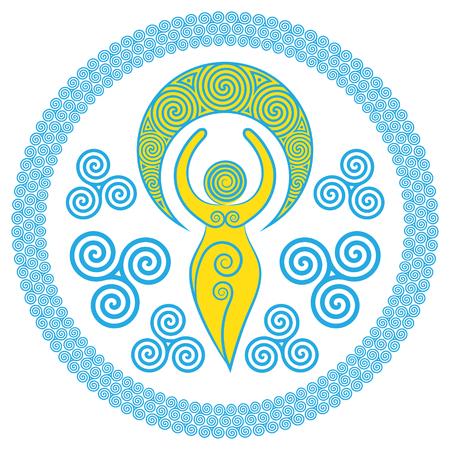 Ancient Spiral Goddess: This delicate Goddess vertegenwoordigt de creatieve krachten van de Goddelijke Vrouwelijke en de nooit eindigende cirkel van creatie, geïsoleerd op wit, vectorillustratie
