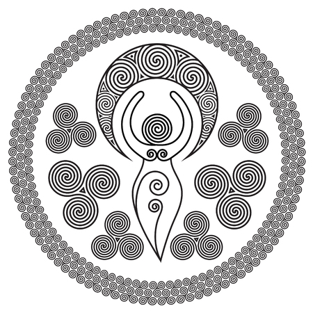 Ancient Spiral Goddess: This delicate Goddess represents the creative powers of the Divine Feminine, and the never ending circle of creation, isolated on white, vector illustration