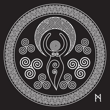 Alte Spirale Göttin: Diese zarte Göttin repräsentiert die schöpferischen Kräfte des Göttlichen Weiblichen, und der nie endende Kreis der Schöpfung, isoliert auf schwarz, Vektor-Illustration