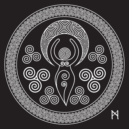 Ancient Spiral Goddess: This delicate Goddess represents the creative powers of the Divine Feminine, and the never ending circle of creation, isolated on black, vector illustration Illustration