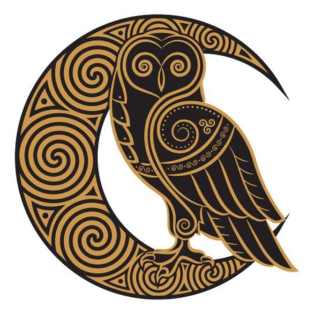 Búho dibujado a mano en estilo celta, sobre el fondo de la luna celta ornamento, aislado en blanco, ilustración vectorial