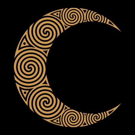 Spiral Celtic Moon, isolated on black, vector illustration