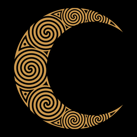 Spiral Celtic Moon, isolated on black, vector illustration