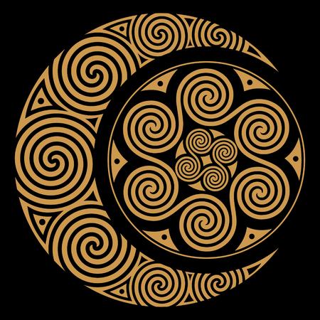 Spiraalvormige Keltische Maan en Keltische die Zon, op zwarte, vectorillustratie wordt geïsoleerd Stockfoto - 83953028
