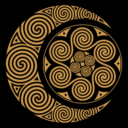 Spiral Celtic Moon and Celtic Sun, isolated on black, vector illustration