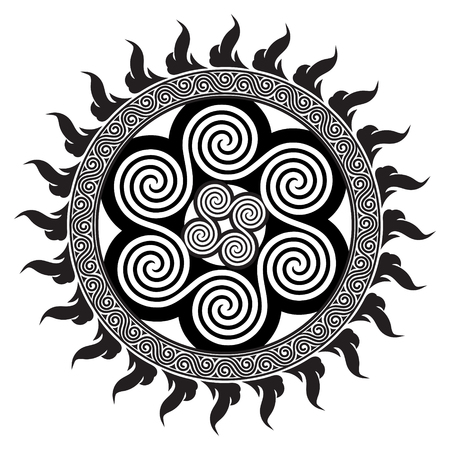 Celtic design - Spiral Celtic Sun, isolated on white, vector illustration.
