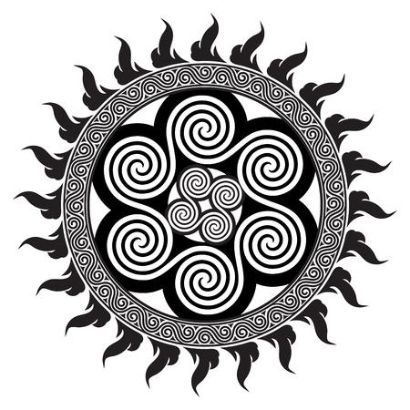Keltisch ontwerp - Spiraalvormige Keltische die Zon, op witte, vectorillustratie wordt geïsoleerd.