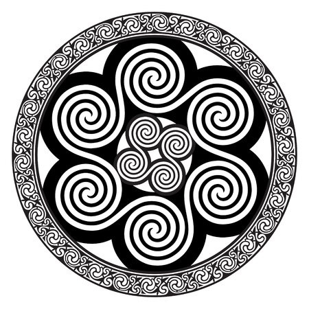 Celtic design - Spiral Celtic Sun, isolated on white, vector illustration