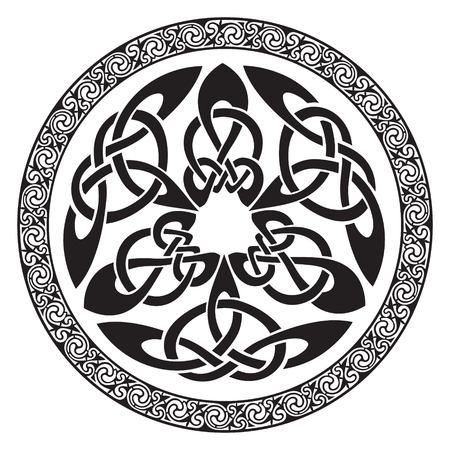 Round Celtic Design, isolated on white, vector illustration
